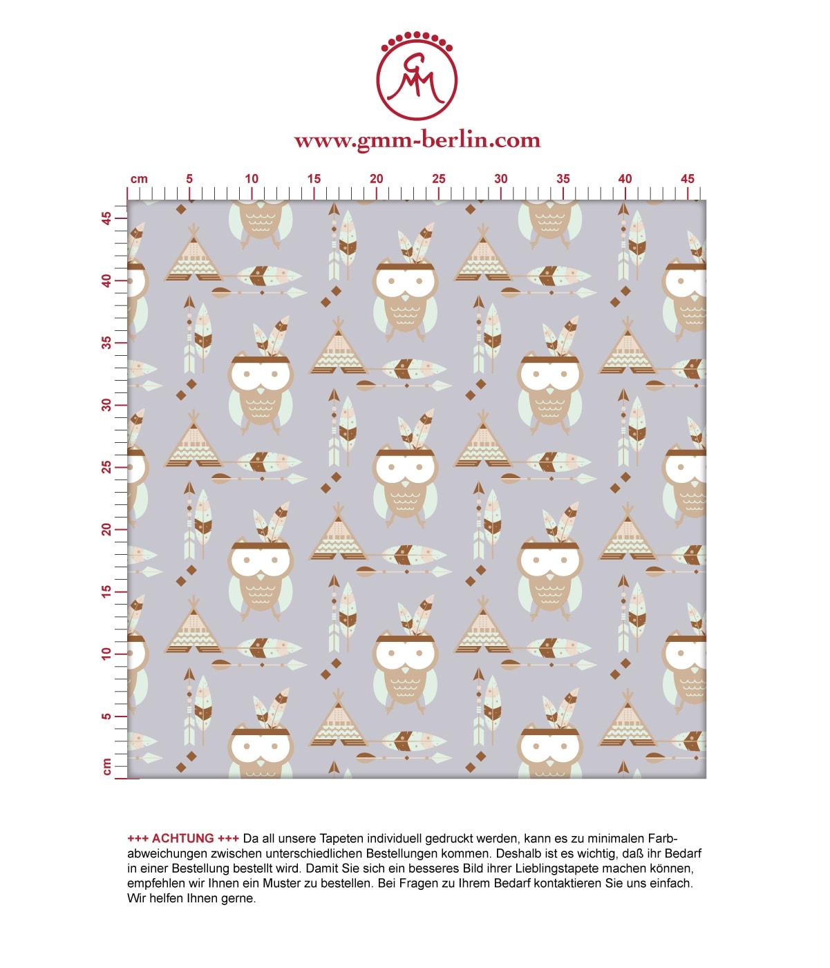 Kindertapete Indianer Eulen mit Federn in grau - Design Tapete für Kinderzimmer. Aus dem GMM-BERLIN.com Sortiment: Schöne Tapeten in der Farbe: braun