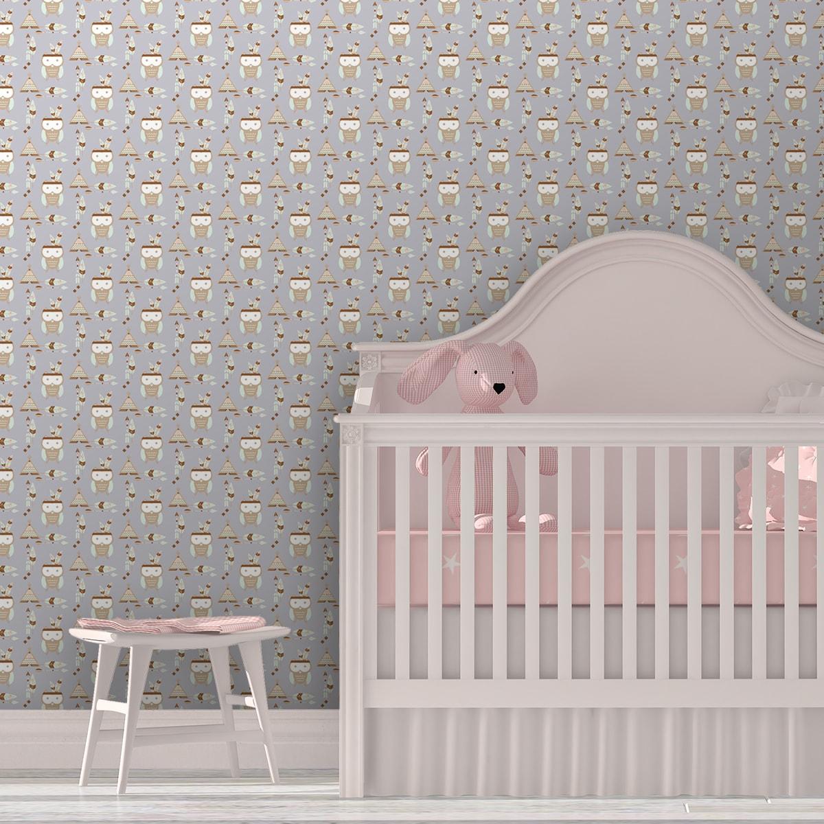 Kindertapete braun: Kindertapete Indianer Eulen mit Federn in grau - Design Tapete für Kinderzimmer