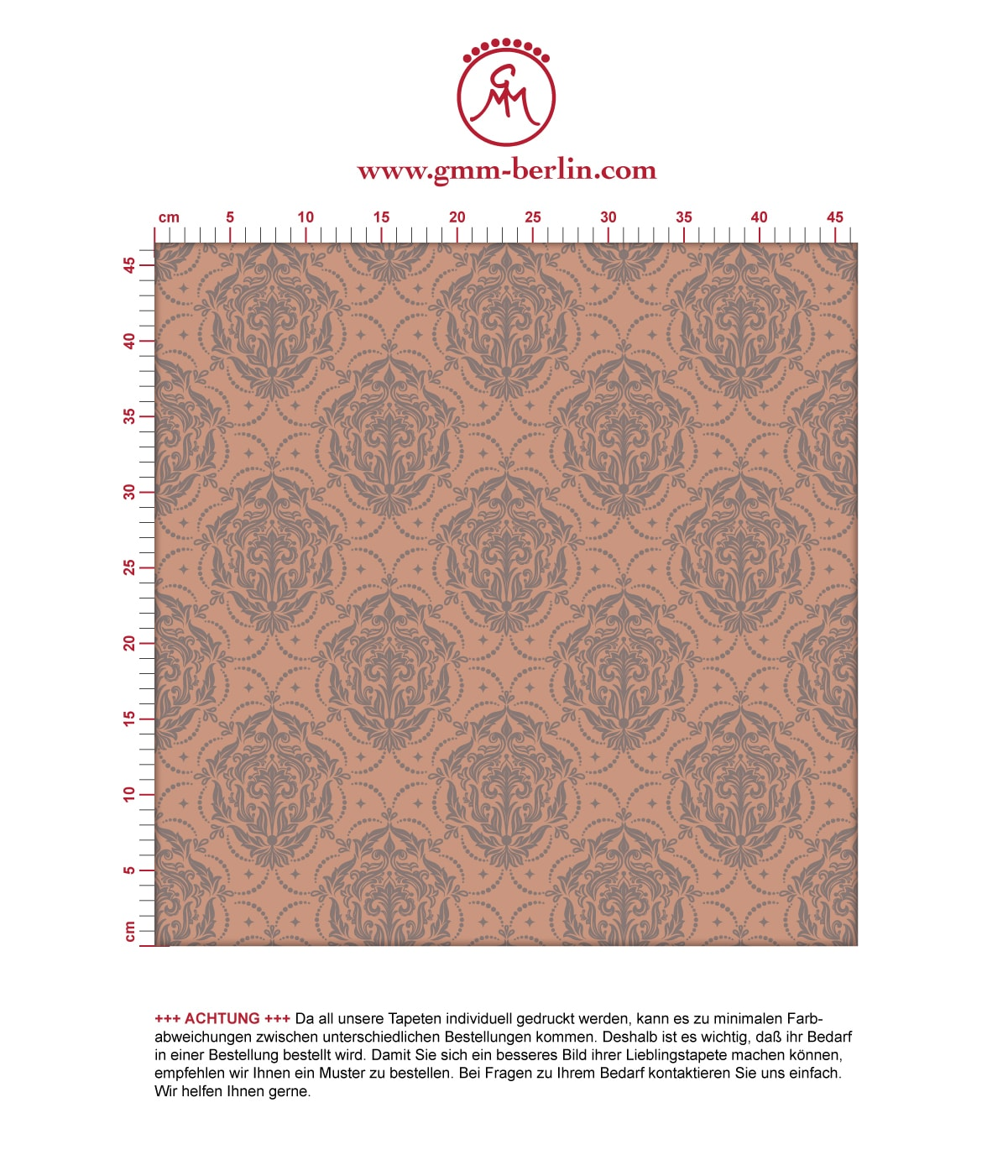 My Castle Ornamenttapete Damast Muster in braun - Design Tapete für Wohnzimmer. Aus dem GMM-BERLIN.com Sortiment: Schöne Tapeten in der Farbe: braun