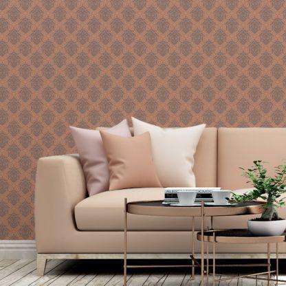 Tapete Wohnzimmer braun: My Castle Ornamenttapete Damast Muster in braun - Design Tapete für Wohnzimmer