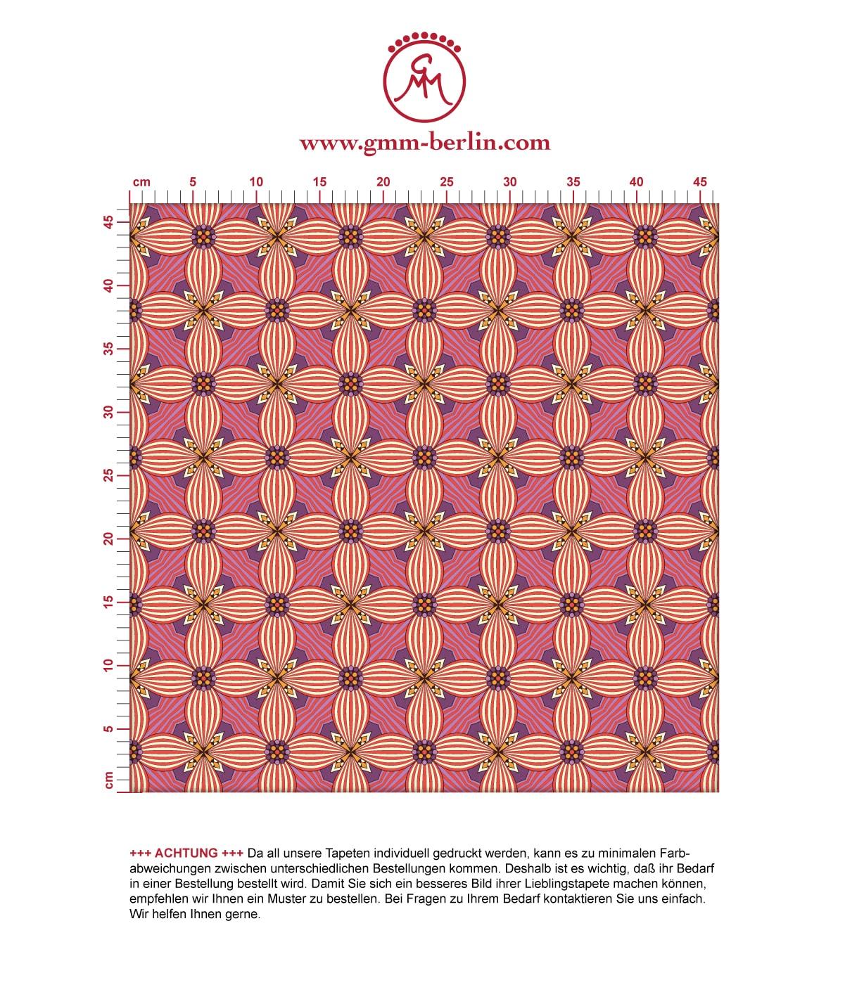 Ornamenttapete Art Deko Lilly Retro Muster in lila - Design Tapete für Wohnzimmer 3