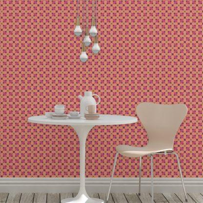 Tapete Wohnzimmer rosa: Ornamenttapete Art Deko Lilly Retro Muster in lila - Design Tapete für Wohnzimmer