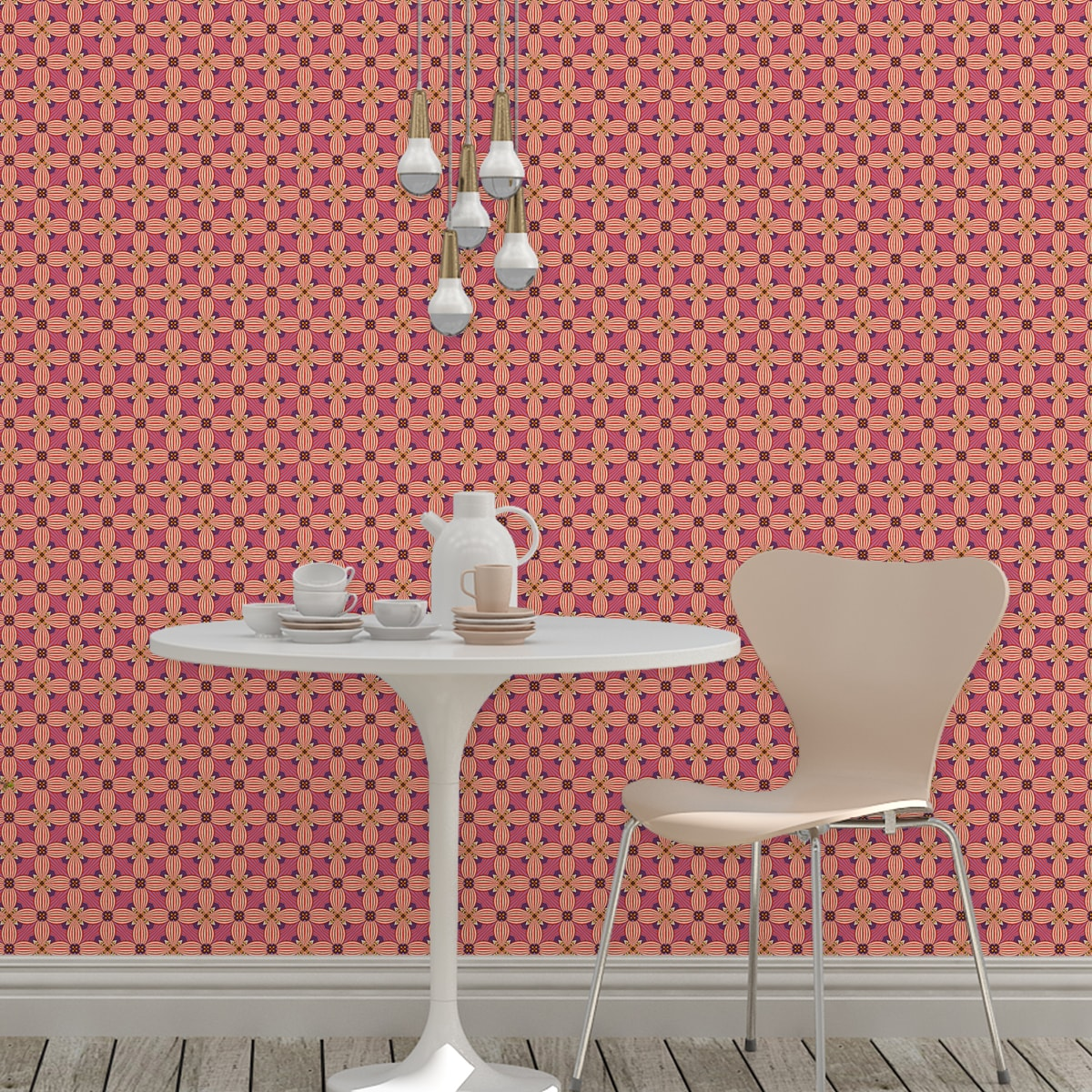 Ornamenttapete Art Deko Lilly Retro Muster in lila - Design Tapete für Wohnzimmer 2