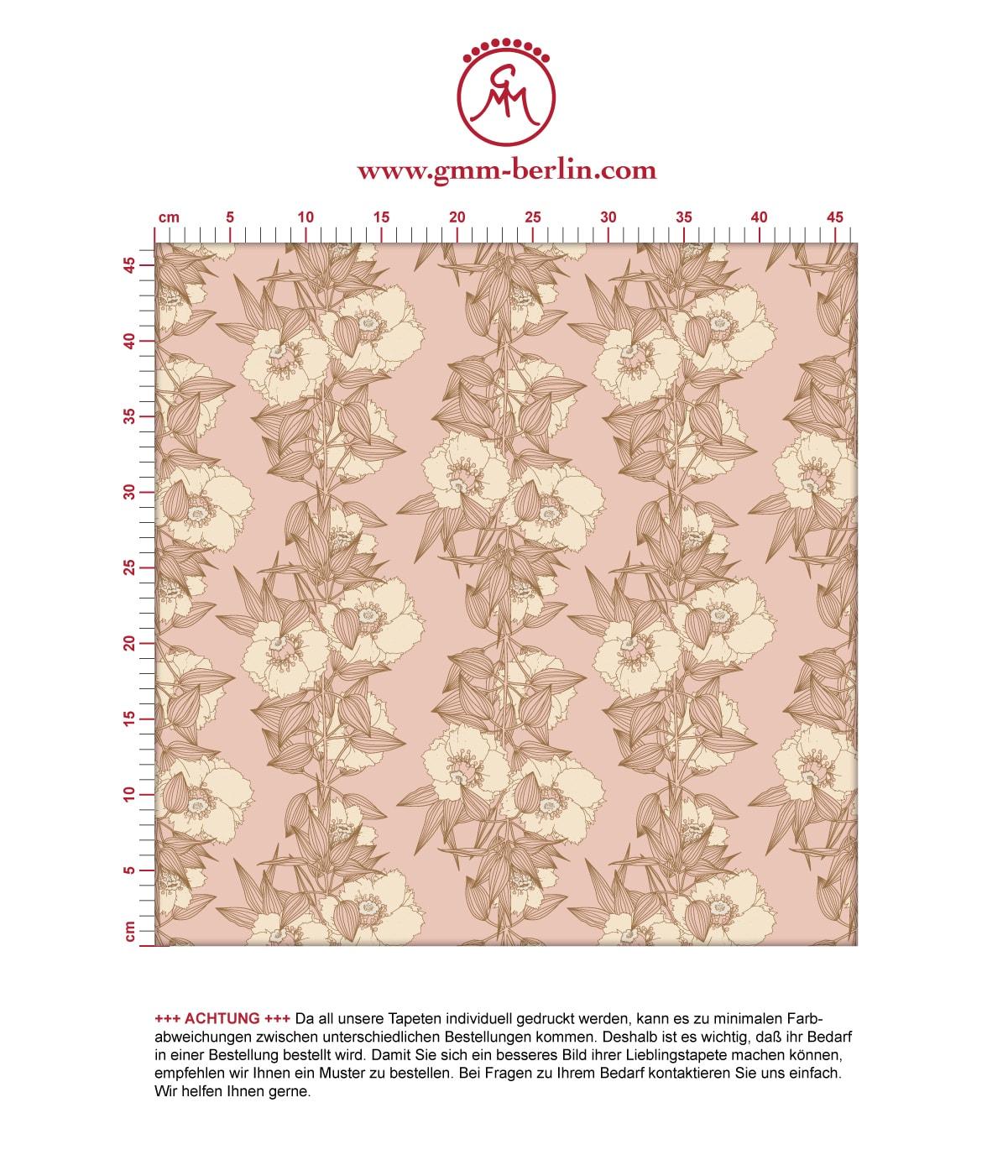 Blumentapete Garten Eden Blüten Ranken in altrosa - Design Tapete für  Wohnzimmer