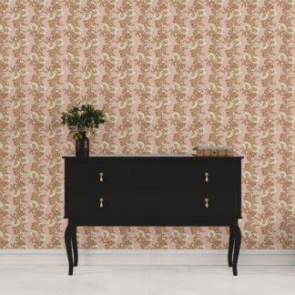 Tapete Wohnzimmer creme: Blumentapete Garten Eden Blüten Ranken in altrosa - Design Tapete für Wohnzimmer