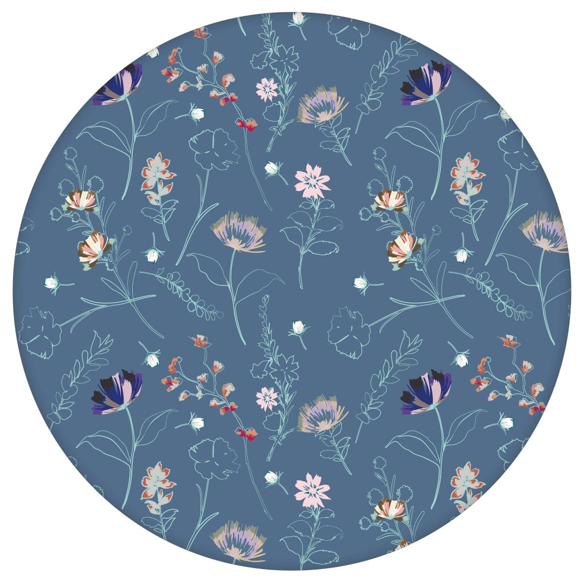 Blumentapete Spring in the air für Frühlings Gefühle in blau - Design Tapete für Wohnzimmeraus dem GMM-BERLIN.com Sortiment: blaue Tapete zur Raumgestaltung: #Ambiente #Blaue Tapeten #blueten #garten #interior #interiordesign #Natur #Wiesenblumen #wohnzimmerBlumen für individuelles Interiordesign