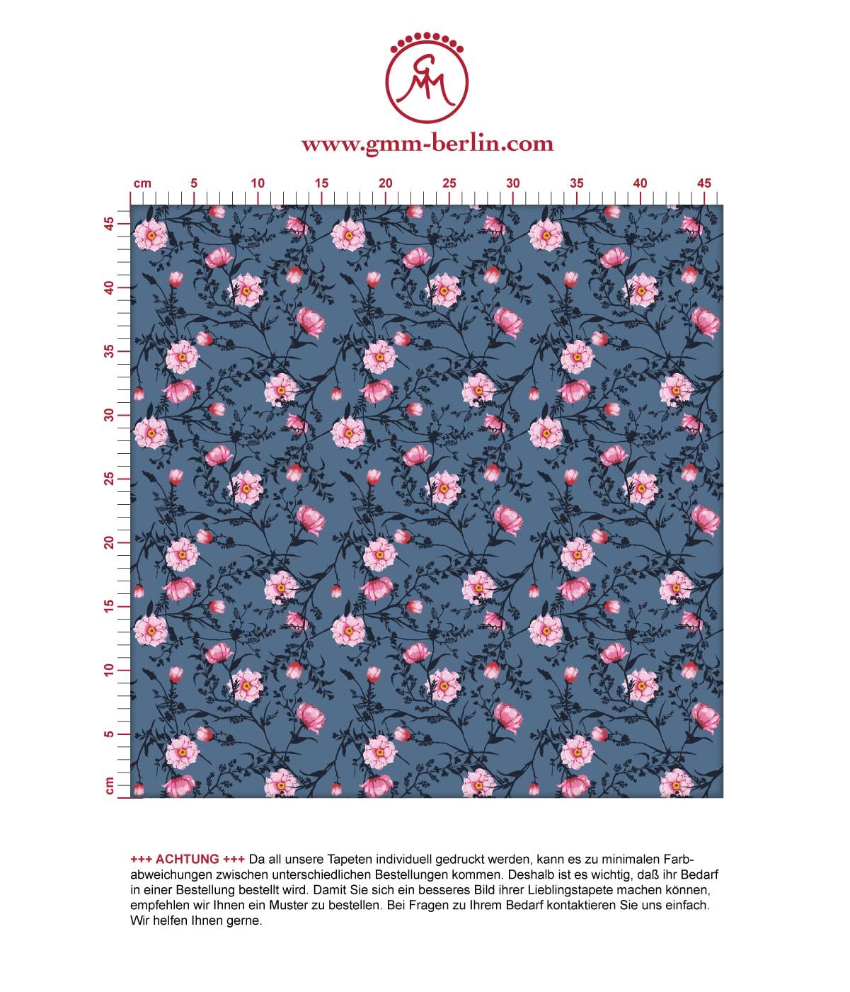 Blumentapete Printemps mit zarten Ranken in blau - Nostalgietapete für Wohnzimmer. Aus dem GMM-BERLIN.com Sortiment: Schöne Tapeten in der Farbe: rosa