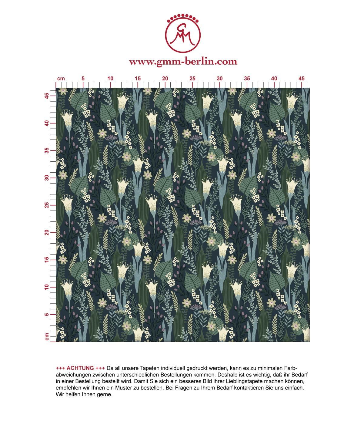 Blumentapete Wellness für die Augen in blau grün - Design Tapete für Wohnzimmer 3