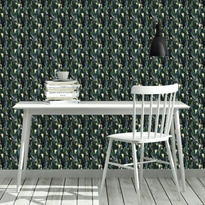 Tapete Wohnzimmer dunkel grün: Blumentapete Wellness für die Augen in blau grün - Design Tapete für Wohnzimmer