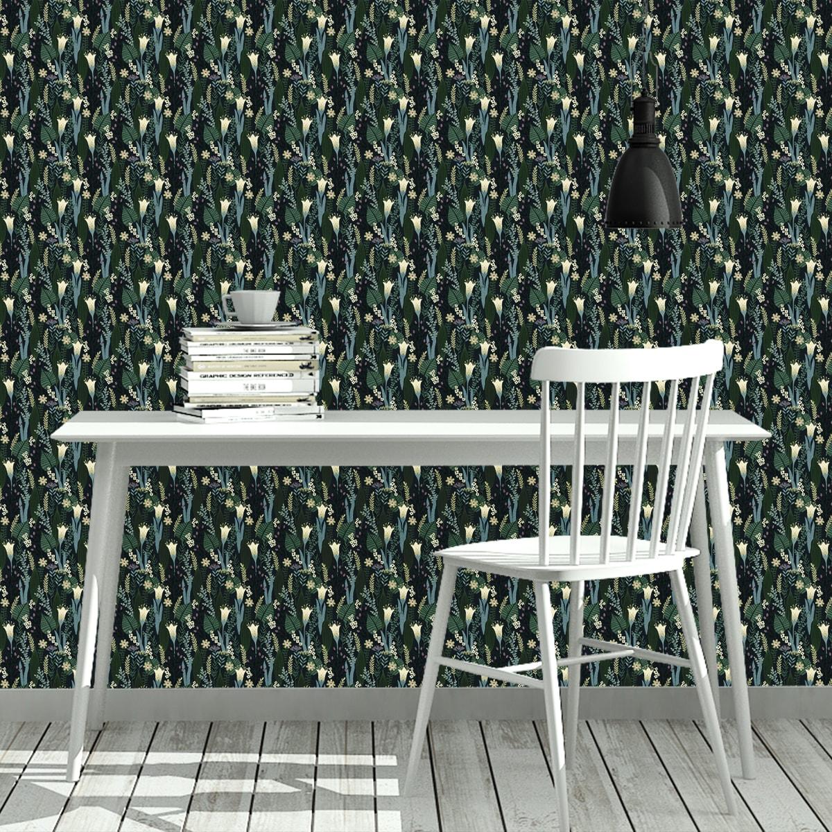 Blumentapete Wellness für die Augen in blau grün - Design Tapete für Wohnzimmer 2