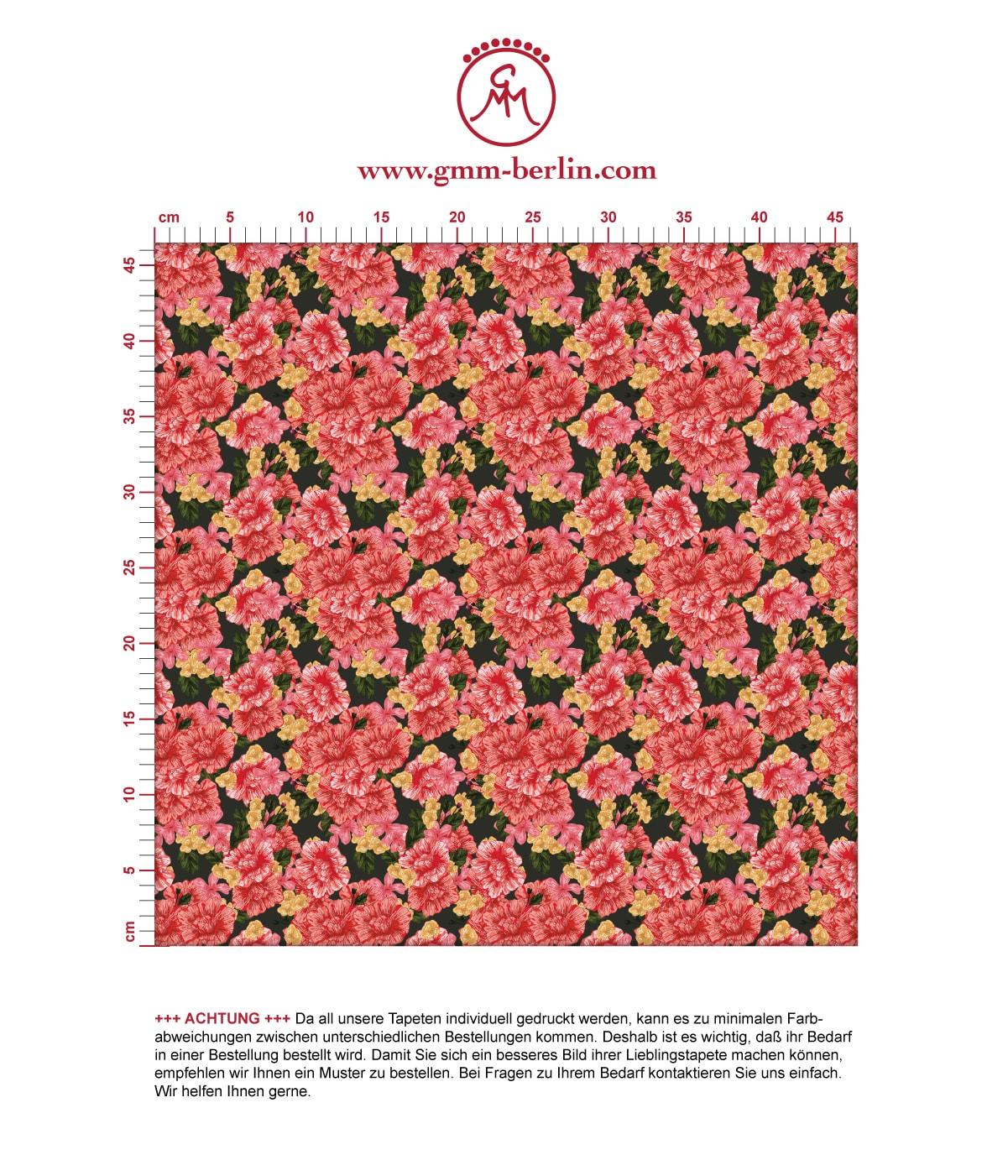 Landhaus Blumentapete Shabby Flowers shabby chic auf braun schwarz - Vliestapete für Wohnzimmer. Aus dem GMM-BERLIN.com Sortiment: Schöne Tapeten in der Farbe: rot