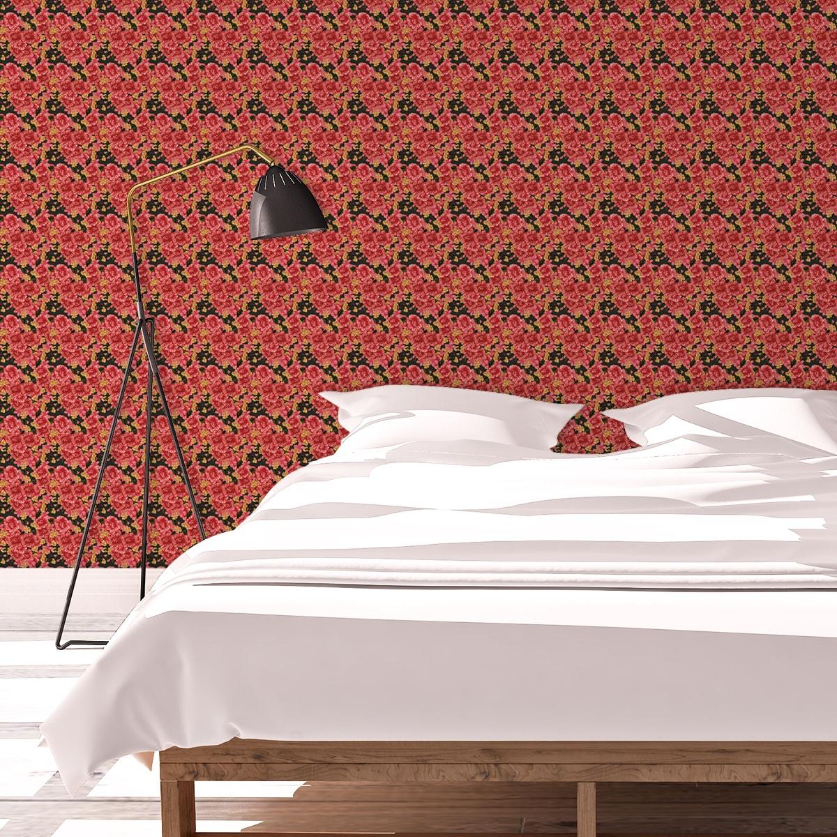 Tapete Wohnzimmer rot: Landhaus Blumentapete Shabby Flowers shabby chic auf braun schwarz - Vliestapete für Wohnzimmer