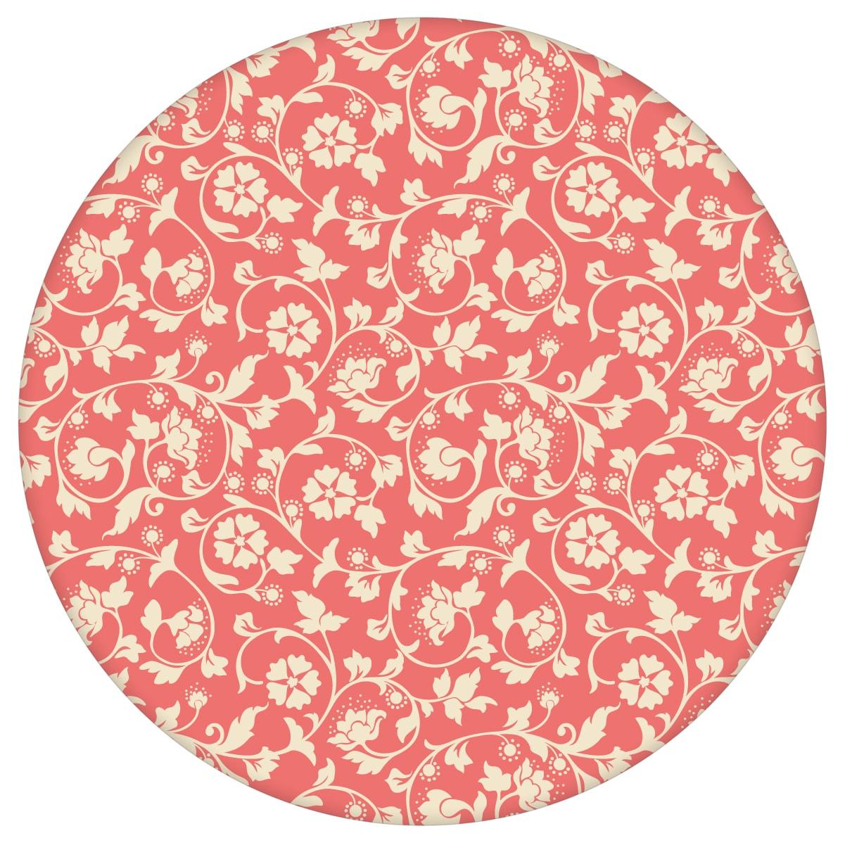 Kemenaten Zauber Ornamenttapete mit Blumen Ranken in rot - Nostalgietapete für Wohnzimmer aus den Tapeten Neuheiten Blumentapeten und Borten als Naturaltouch Luxus Vliestapete oder Basic Vliestapete