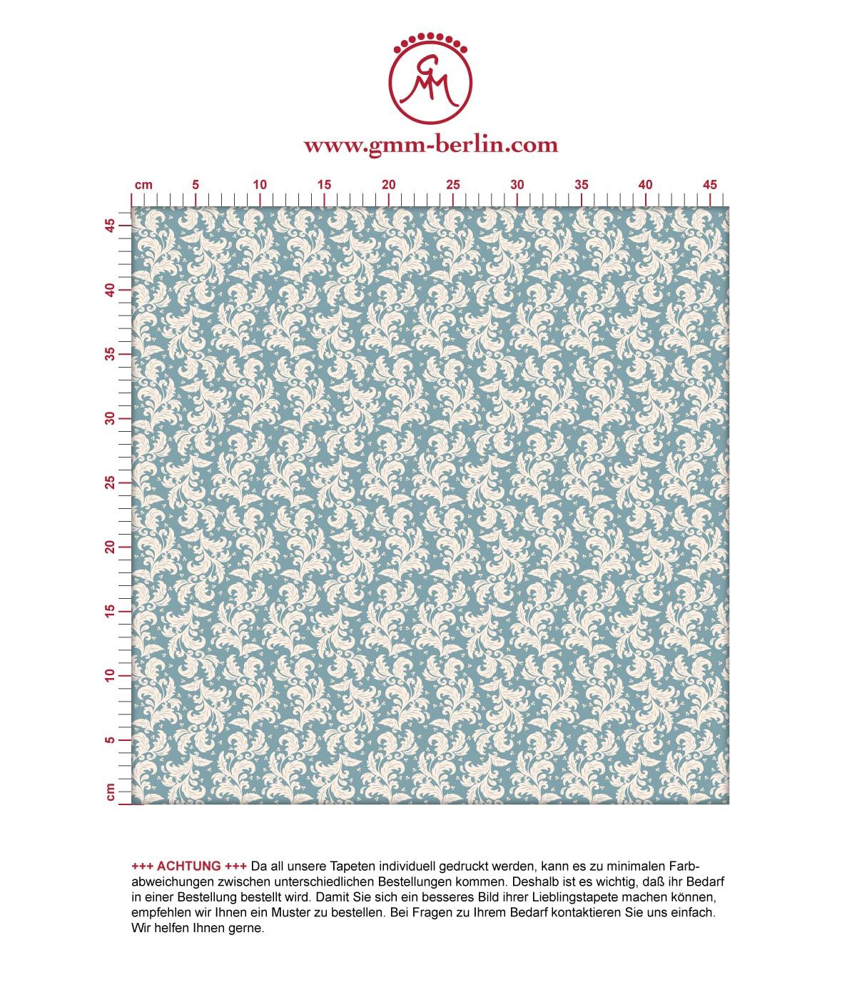 Ornamenttapete Nostalgie Ranken mit Blatt Muster in hellblau - Vlies Tapete Ornamente für Wohnzimmer. Aus dem GMM-BERLIN.com Sortiment: Schöne Tapeten in creme Farbe