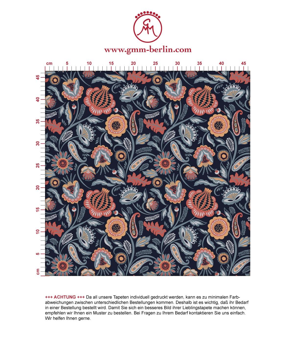 Blumentapete Folklore Garten Vintage Stil in dunkelblau - Vliestapete Blumen für Wohnzimmer 3