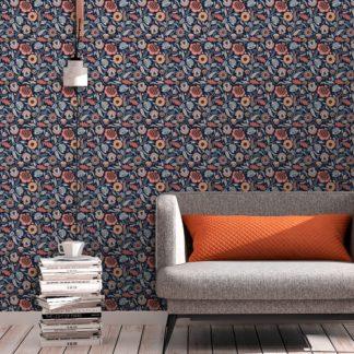 Tapete Wohnzimmer orange: Blumentapete Folklore Garten Vintage Stil in dunkelblau - Vliestapete Blumen für Wohnzimmer