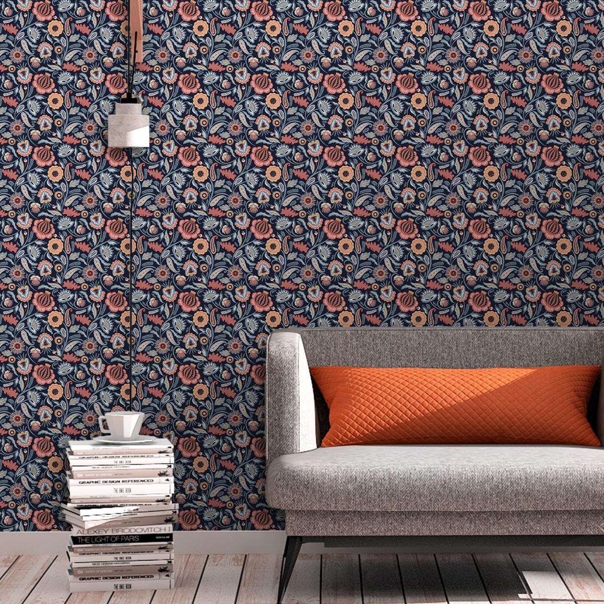 Blumentapete Folklore Garten Vintage Stil in dunkelblau - Vliestapete Blumen für Wohnzimmer 2