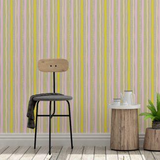 Streifentapete lockere Streifen grafisch modern in gelb - Streifentapete für Wohnzimmer