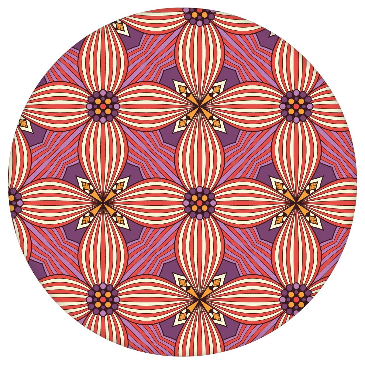 Ornamenttapete Art Deko Lilly Muster groß in violett - Design Tapete für Wohnzimmer aus den Tapeten Neuheiten Exklusive Tapete für schönes Wohnen als Naturaltouch Luxus Vliestapete oder Basic Vliestapete