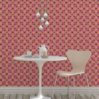 Tapete Wohnzimmer rosa: Ornamenttapete Art Deko Lilly Muster groß in violett - Design Tapete für Wohnzimmer