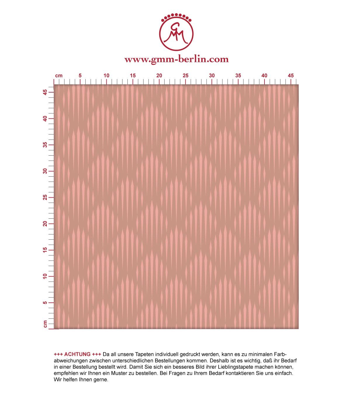 Art Deko Diamant Design Tapete mit grafischer Eleganz in altrosa - Ornamenttapete für Schlafzimmer 3