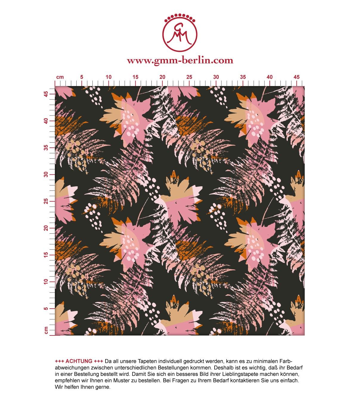 Retro Blumentapete Wildflowers in braun - florale Tapete für Schlafzimmer. Aus dem GMM-BERLIN.com Sortiment: Schöne Tapeten in der Farbe: rosa