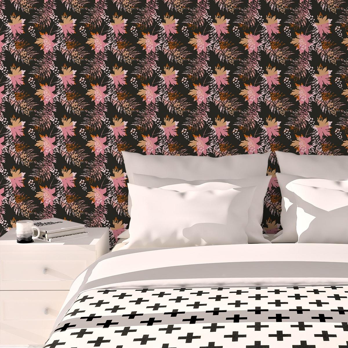 Schlafzimmer tapezieren in rosa: Retro Blumentapete Wildflowers in braun - florale Tapete für Schlafzimmer