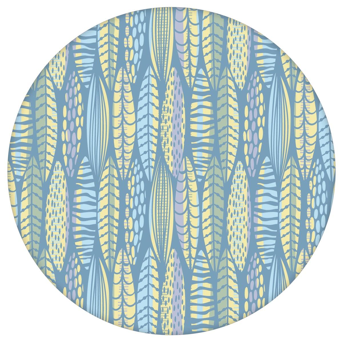 Grafische Tapete Streifen Blätter Floral, Modern In