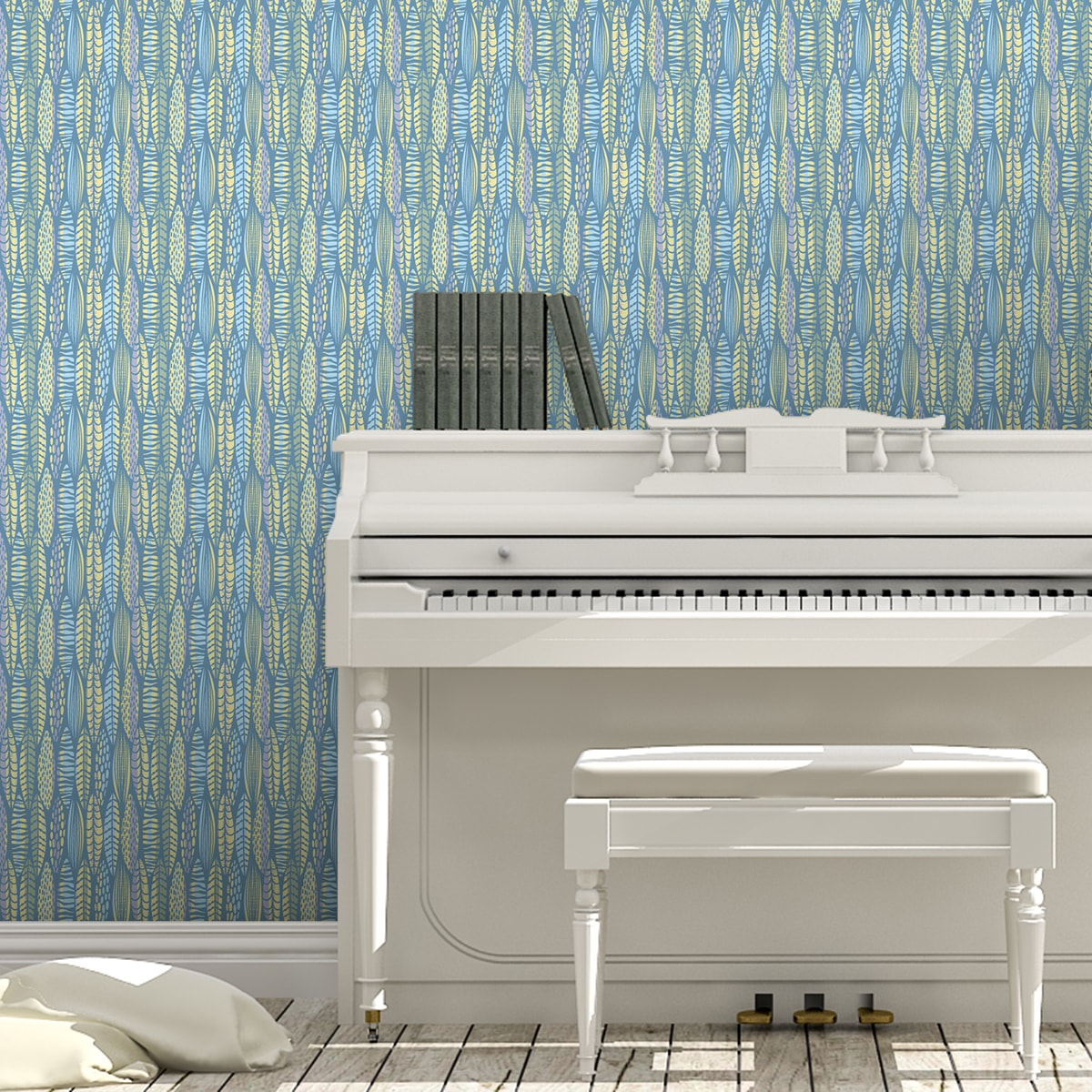 grafische Tapete Streifen Blätter floral, modern in hellblau - Streifentapete für Schlafzimmer