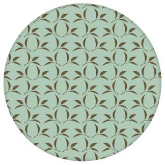 Tea Time Ornamenttapete mit Tee Blättern in mint - Design Tapete für Schlafzimmer