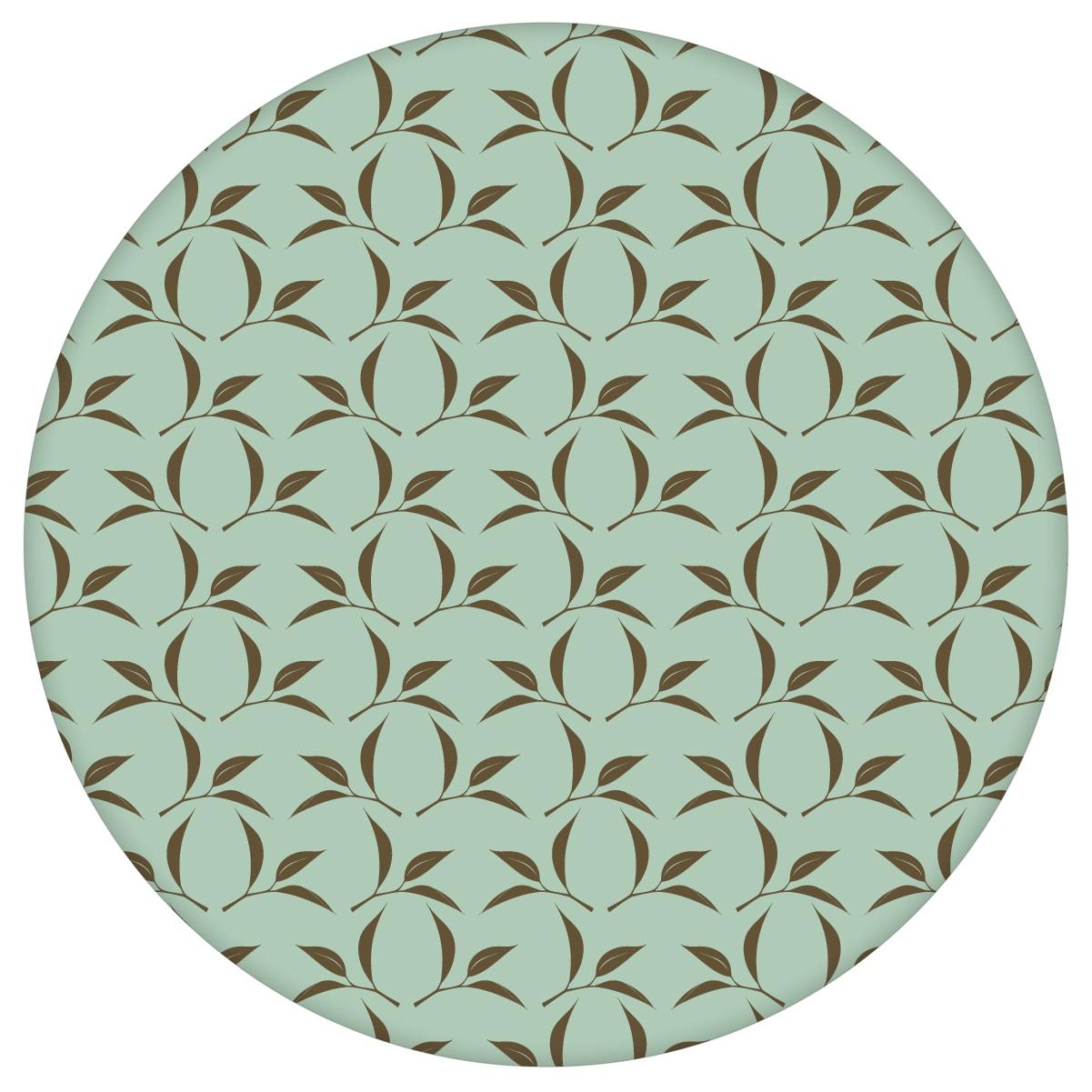 Tea Time Ornamenttapete mit Tee Blättern in mint - Design Tapete für Schlafzimmer 2