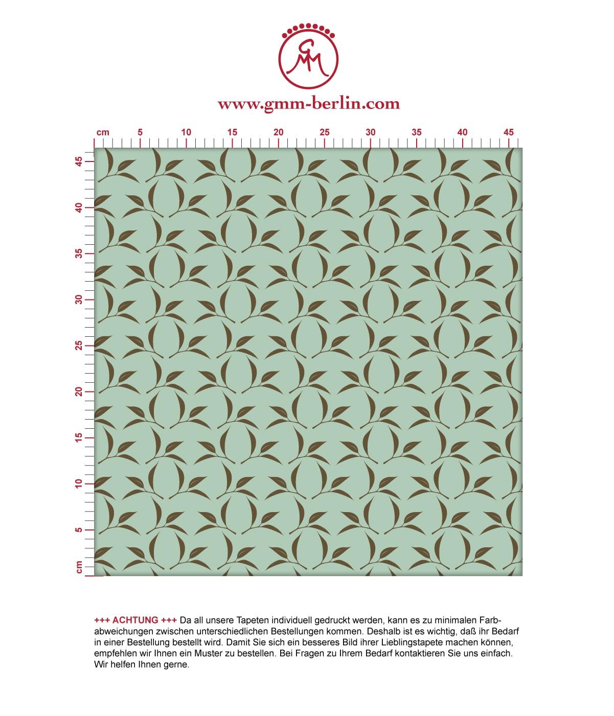 Tea Time Ornamenttapete mit Tee Blättern in mint - Design Tapete für Schlafzimmer 3