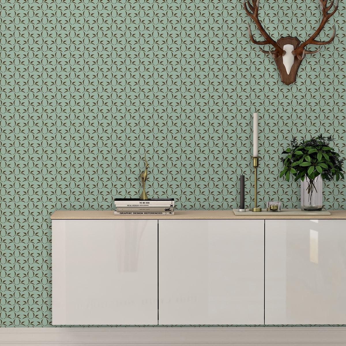 Schlafzimmer tapezieren in braun: Tea Time Ornamenttapete mit Tee Blättern in mint - Design Tapete für Schlafzimmer
