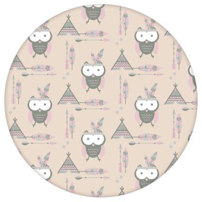 Indianer Eulen Kindertapete mit Federn in beige - Design Tapete für Babyzimmer aus den Tapeten Neuheiten Exklusive Tapete für schönes Wohnen als Naturaltouch Luxus Vliestapete oder Basic Vliestapete