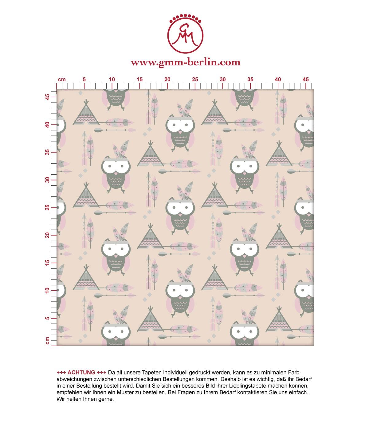 Indianer Eulen Kindertapete mit Federn in beige - Design Tapete für Babyzimmer 3