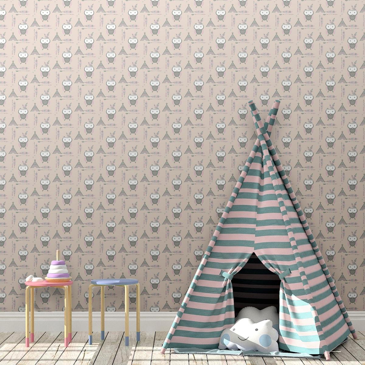 Wandtapete creme: Indianer Eulen Kindertapete mit Federn in beige - Design Tapete für Babyzimmer