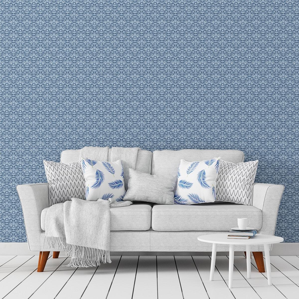 Schlafzimmer tapezieren in hellblau: Florale Ornamenttapete Damast Muster klassisch in blau - Design Tapete für Schlafzimmer