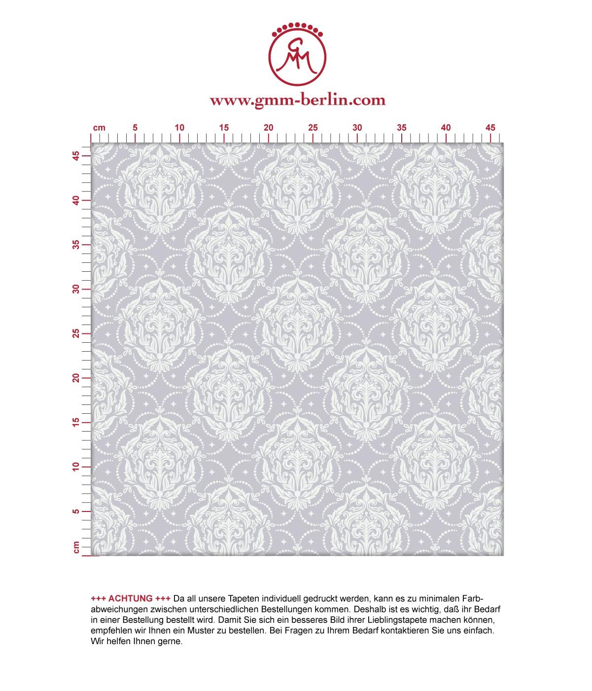 Edle Ornamenttapete My Castle Damast Muster in flieder grau - Design Tapete für Schlafzimmer. Aus dem GMM-BERLIN.com Sortiment: Schöne Tapeten in der Farbe: grau