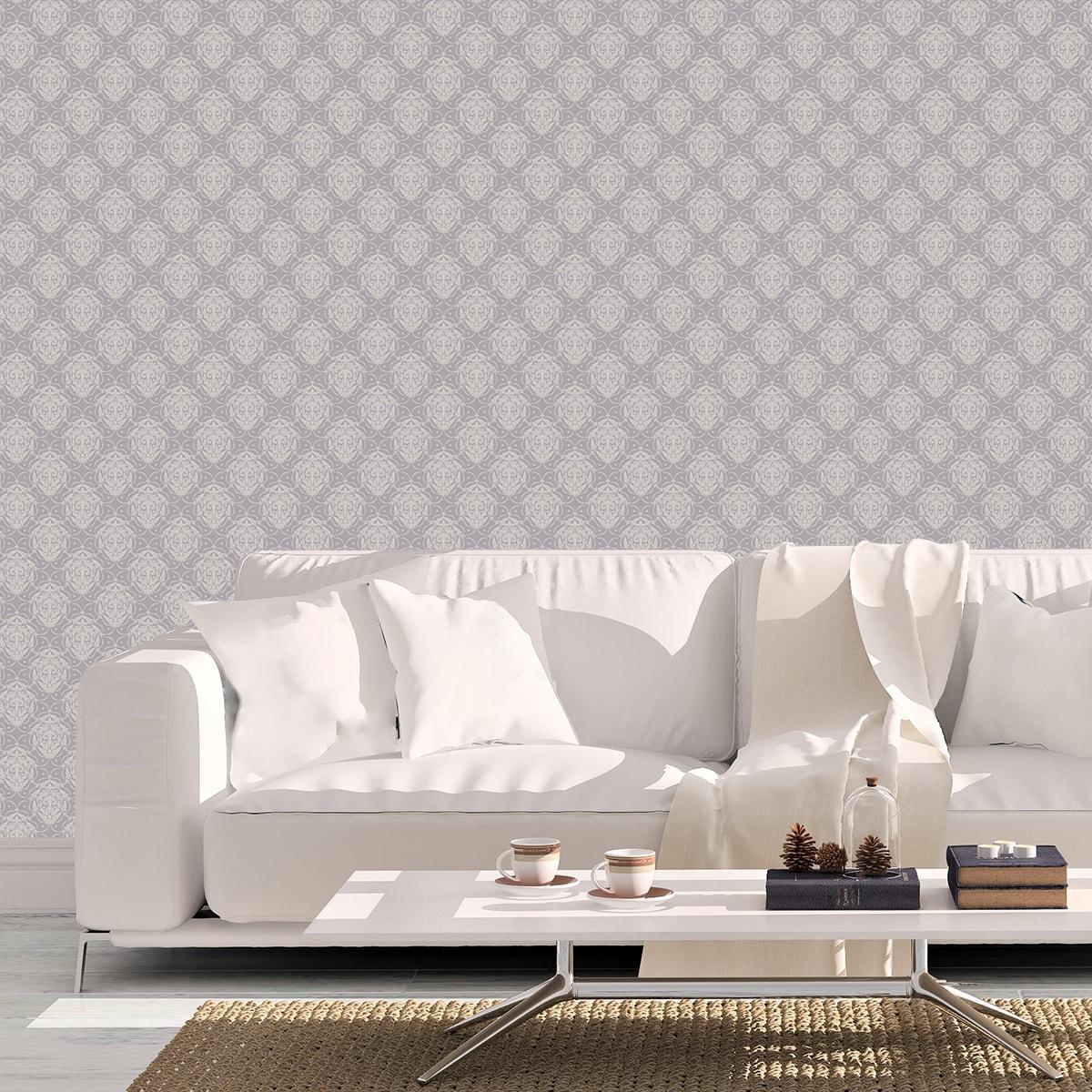 Schlafzimmer tapezieren in grau: Edle Ornamenttapete My Castle Damast Muster in flieder grau - Design Tapete für Schlafzimmer