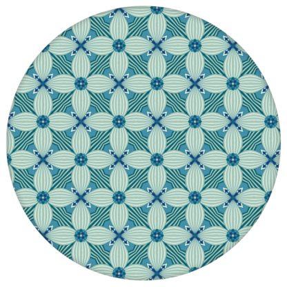 Retro Ornamenttapete Art Deko Lilly in blau - Design Tapete für Schlafzimmer aus den Tapeten Neuheiten Exklusive Tapete für schönes Wohnen als Naturaltouch Luxus Vliestapete oder Basic Vliestapete