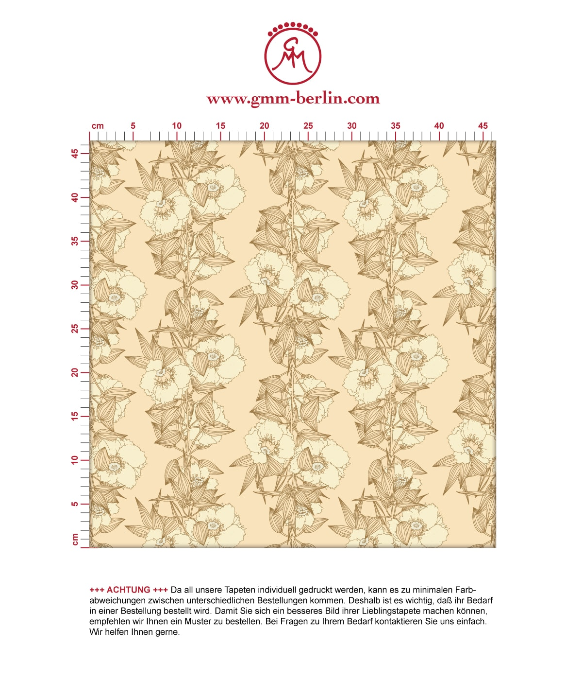 Garten Eden Blumentapete Blüten Ranken in vanille - Design Tapete für Schlafzimmer 3