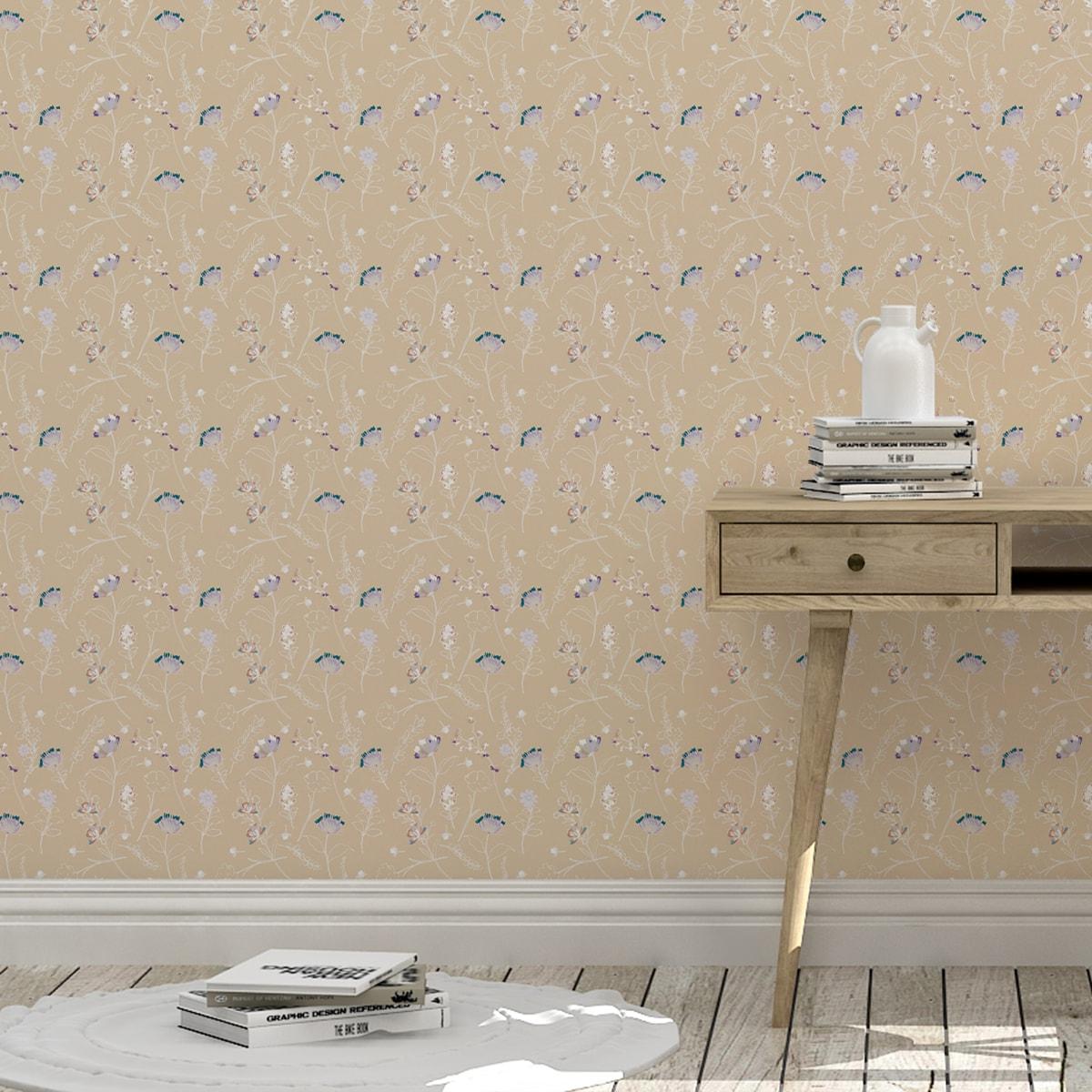 Schlafzimmer tapezieren in creme: Beige Blumentapete Spring in the air für Frühlings Gefühle - Design Tapete für Schlafzimmer