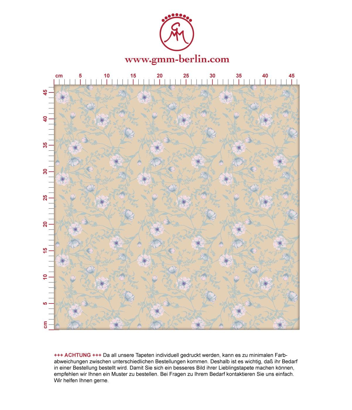 Zarte Blumentapete Printemps mit Ranken in mint blau - Nostalgietapete für Schlafzimmer. Aus dem GMM-BERLIN.com Sortiment: Schöne Tapeten in creme Farbe