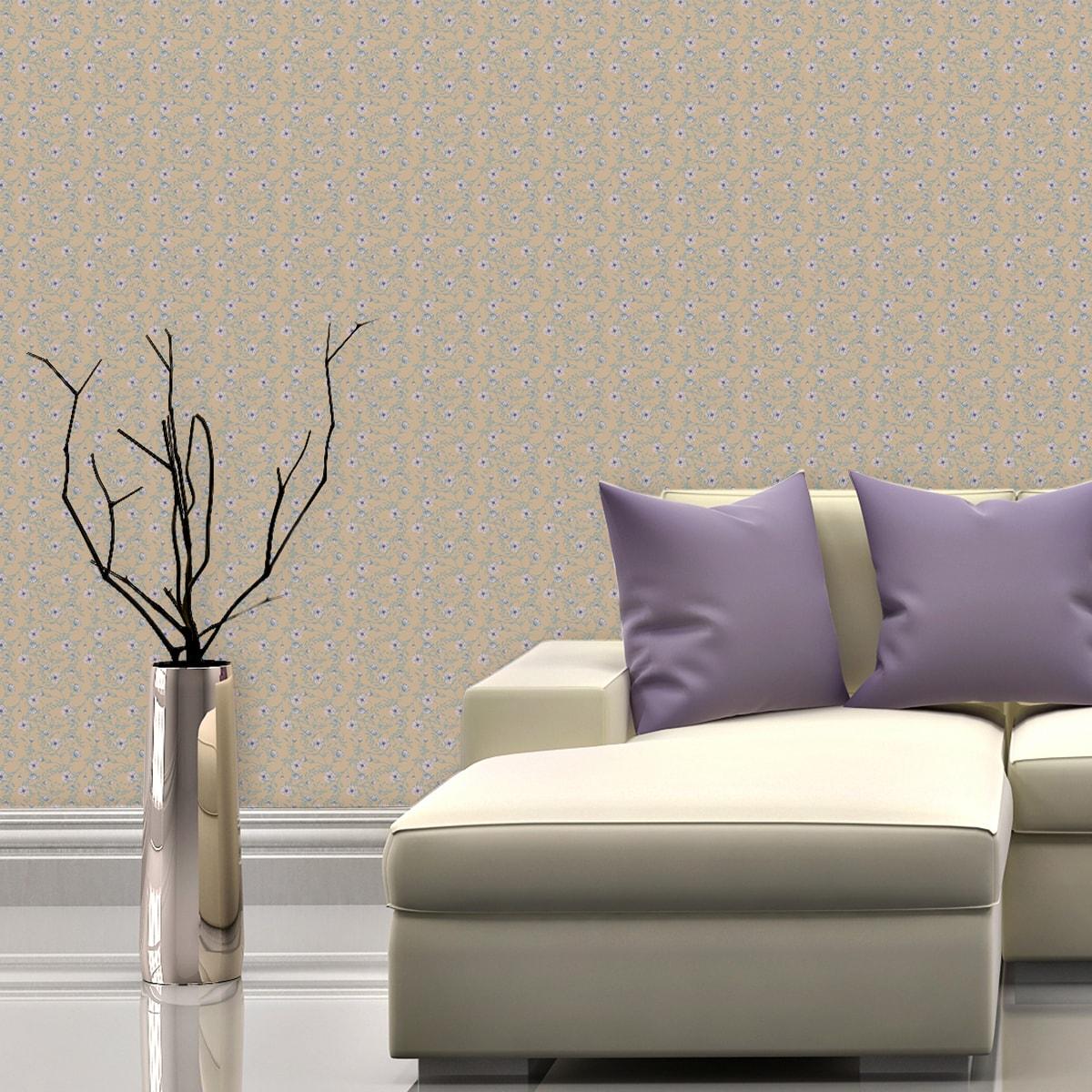 Schlafzimmer tapezieren in creme: Zarte Blumentapete Printemps mit Ranken in mint blau - Nostalgietapete für Schlafzimmer
