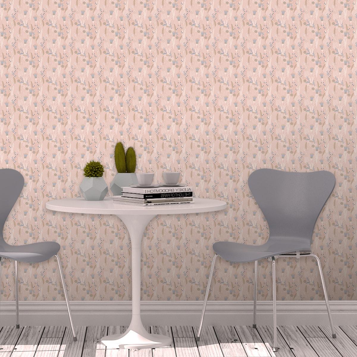 Schlafzimmer tapezieren in rosa: Der naive Garten Blumentapete Wellness für die Augen in rosa - Design Tapete für Schlafzimmer