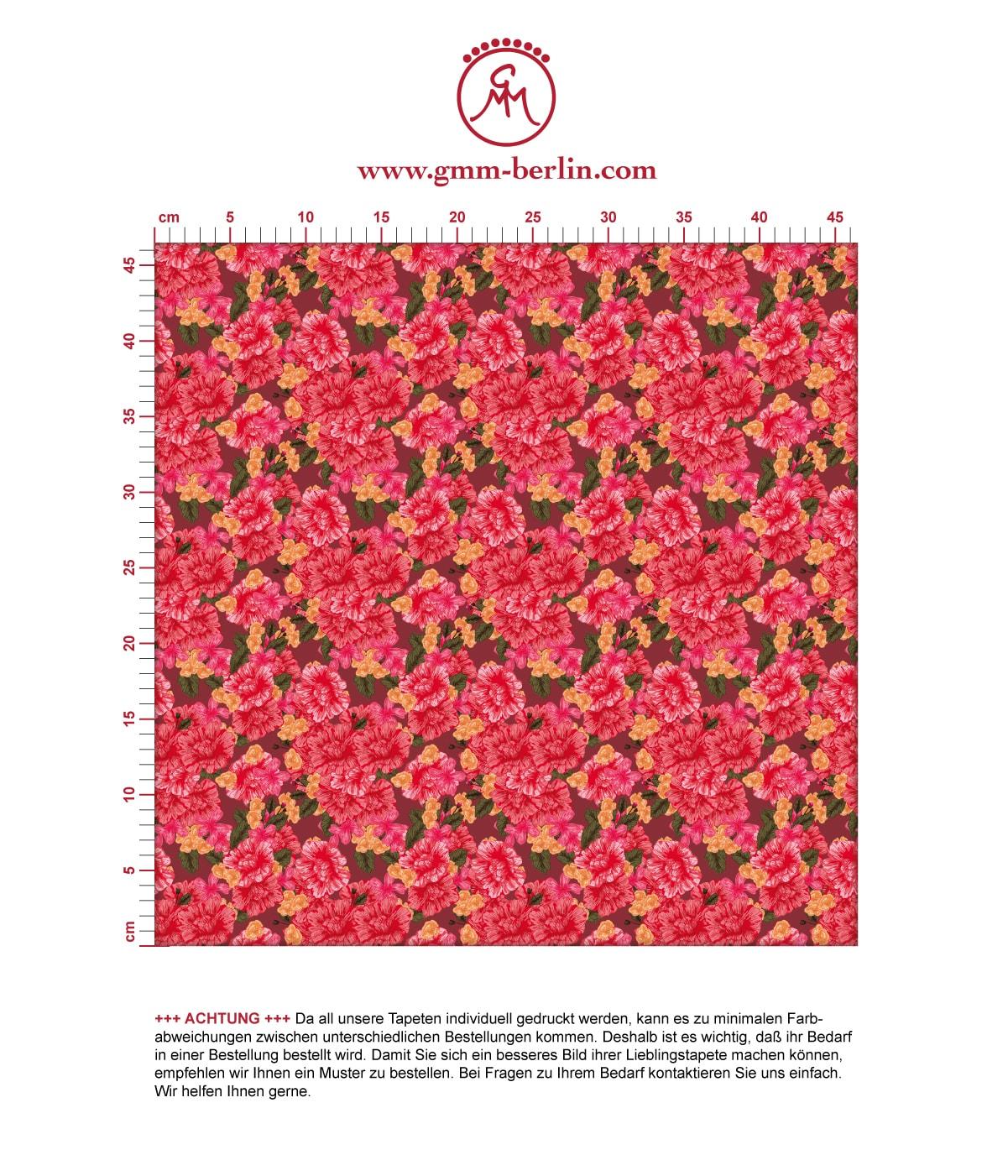 Blumentapete Shabby Flowers Landhaus shabby chic in rot - Vliestapete für Schlafzimmer. Aus dem GMM-BERLIN.com Sortiment: Schöne Tapeten in der Farbe: rot
