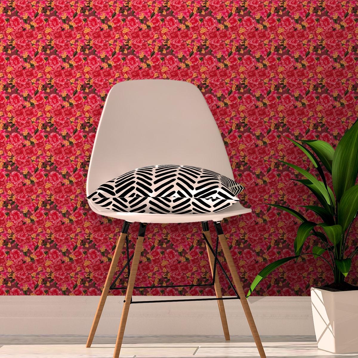 Schlafzimmer tapezieren in rot: Blumentapete Shabby Flowers Landhaus shabby chic in rot - Vliestapete für Schlafzimmer