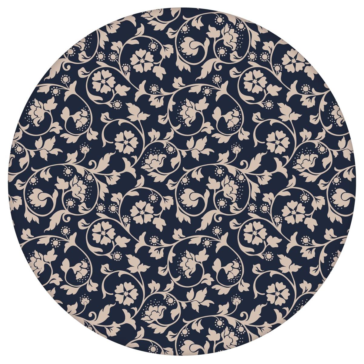 Blumen Ornamenttapete Kemenaten Zauber mit Ranken in dunkelblau - Nostalgietapete für Schlafzimmeraus dem GMM-BERLIN.com Sortiment: beige Tapete zur Raumgestaltung: #Ambiente #Blaue Tapeten #blueten #interior #interiordesign #Jugendstil #klassisch #schlafzimmerBlumen #vintage für individuelles Interiordesign