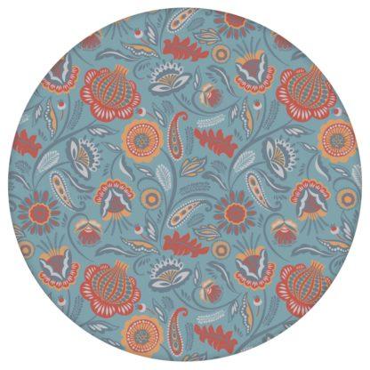 Folklore Blumentapete Garten Vintage Stil in hellblau - Vliestapete Blumen für Schlafzimmer aus den Tapeten Neuheiten Blumentapeten und Borten als Naturaltouch Luxus Vliestapete oder Basic Vliestapete