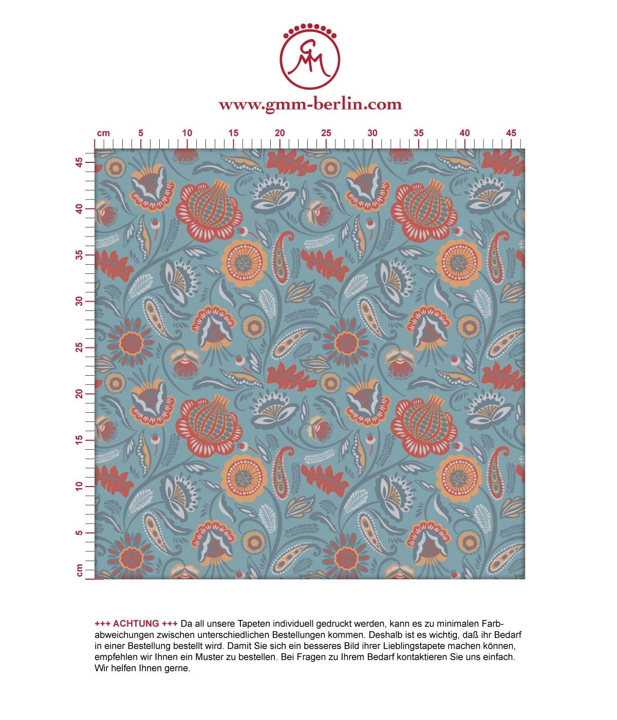 Folklore Blumentapete Garten Vintage Stil in hellblau - Vliestapete Blumen für Schlafzimmer. Aus dem GMM-BERLIN.com Sortiment: Schöne Tapeten in der Farbe: mittelblau
